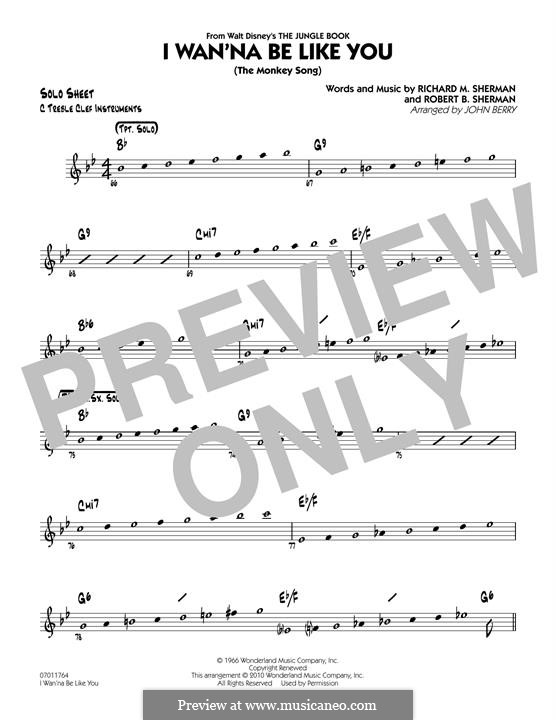 I Wanna Be Like You (The Monkey Song): C Solo Sheet part (arr. John Berry) by Richard M. Sherman, Robert B. Sherman
