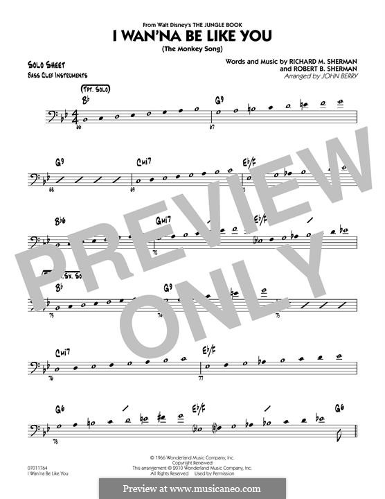 I Wanna Be Like You (The Monkey Song): Bass Clef Solo Sheet part (arr. John Berry) by Richard M. Sherman, Robert B. Sherman
