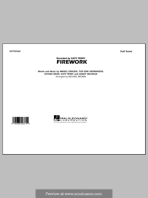 Firework (arr. Michael Brown): Full score by Esther Dean, Katy Perry, Mikkel Storleer Eriksen, Sandy Wilhelm, Tor Erik Hermansen