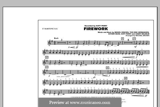 Firework (arr. Michael Brown): Eb Baritone Sax part by Esther Dean, Katy Perry, Mikkel Storleer Eriksen, Sandy Wilhelm, Tor Erik Hermansen