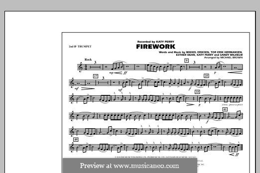 Firework (arr. Michael Brown): 2nd Bb Trumpet part by Esther Dean, Katy Perry, Mikkel Storleer Eriksen, Sandy Wilhelm, Tor Erik Hermansen