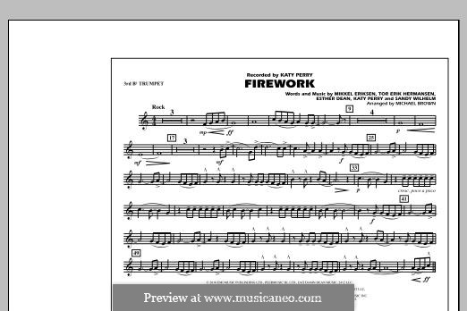 Firework (arr. Michael Brown): 3rd Bb Trumpet part by Esther Dean, Katy Perry, Mikkel Storleer Eriksen, Sandy Wilhelm, Tor Erik Hermansen