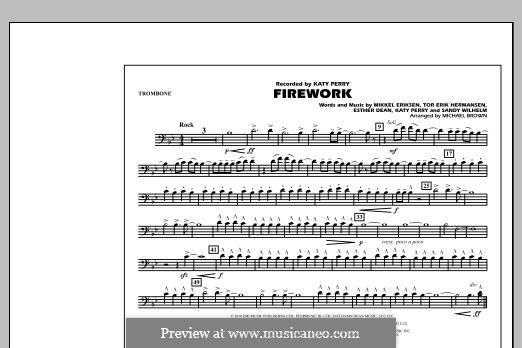 Firework (arr. Michael Brown): Trombone part by Esther Dean, Katy Perry, Mikkel Storleer Eriksen, Sandy Wilhelm, Tor Erik Hermansen
