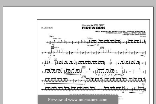 Firework (arr. Michael Brown): Snare Drum part by Esther Dean, Katy Perry, Mikkel Storleer Eriksen, Sandy Wilhelm, Tor Erik Hermansen