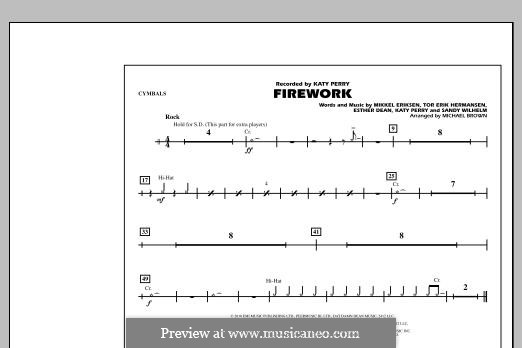 Firework (arr. Michael Brown): Cymbals part by Esther Dean, Katy Perry, Mikkel Storleer Eriksen, Sandy Wilhelm, Tor Erik Hermansen
