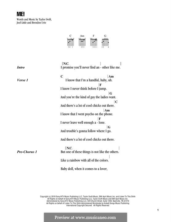 ME! (feat. Brendon Urie of Panic! At The Disco): Lyrics and chords by Brendon Urie, Taylor Swift, Joel Little