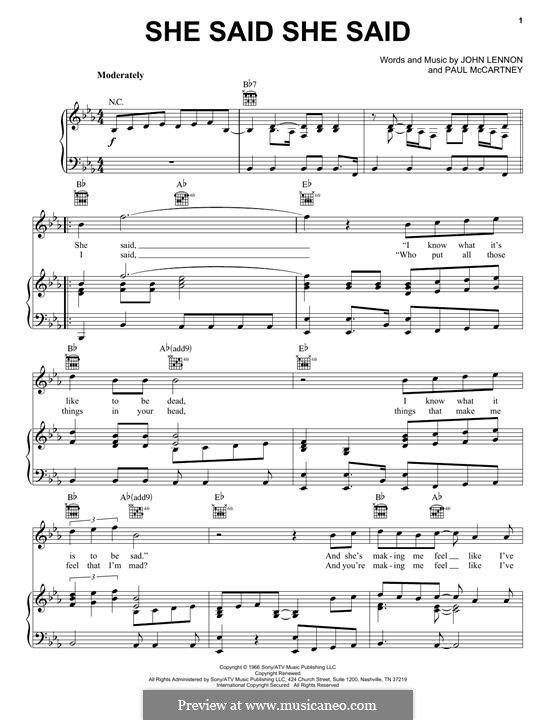 She Said She Said (The Beatles): For voice and piano (or guitar) by John Lennon, Paul McCartney