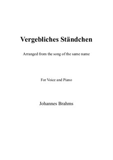 Romances and Songs, Op.84: No.4 Vergebliches Ständchen (The Vain Suit), for flute and piano by Johannes Brahms
