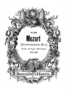 Divertissement in E Flat Major, K.166: For wind ensemble by Wolfgang Amadeus Mozart