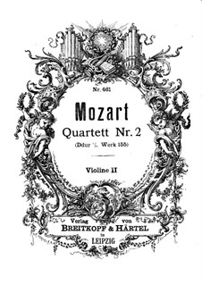 String Quartet No.2 in D Major, K.155: Violin II part by Wolfgang Amadeus Mozart