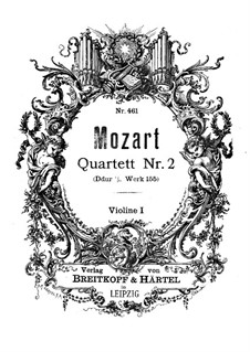 String Quartet No.2 in D Major, K.155: Violin I part by Wolfgang Amadeus Mozart