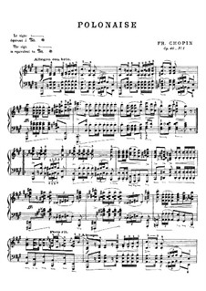 Polonaises, Op.40: No.1 for piano in A Major (with fingering) by Frédéric Chopin