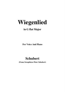 Wiegenlied (Cradle Song), D.498 Op.98 No.2: For voice and piano (G flat Major) by Franz Schubert