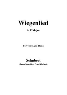Wiegenlied (Cradle Song), D.498 Op.98 No.2: For voice and piano (E Major) by Franz Schubert