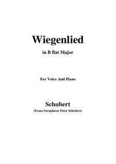 Wiegenlied (Cradle Song), D.498 Op.98 No.2: For voice and piano (B flat Major) by Franz Schubert