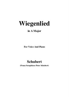 Wiegenlied (Cradle Song), D.498 Op.98 No.2: For voice and piano (A Major) by Franz Schubert
