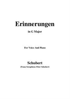 Erinnerungen (Memories), D.98: For voice and piano (G Major) by Franz Schubert