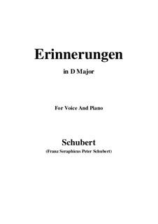 Erinnerungen (Memories), D.98: For voice and piano (D Major) by Franz Schubert