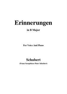 Erinnerungen (Memories), D.98: For voice and piano (B Major) by Franz Schubert