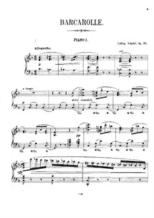 Barcarole for Piano and Strings (or Two Pianos), Op.60: Piano part by Ludvig Schytte