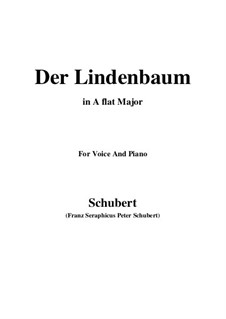 No.5 Der Lindenbaum (The Linden Tree): For voice and piano (A flat Major) by Franz Schubert