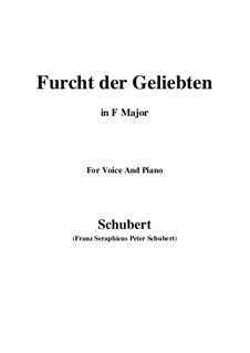 Furcht der Geliebten (An Cidli), D.285: For voice and piano (F Major) by Franz Schubert