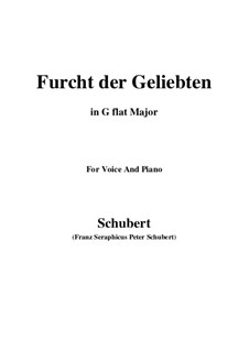 Furcht der Geliebten (An Cidli), D.285: For voice and piano (G flat Major) by Franz Schubert