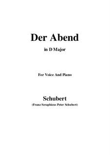 Der Abend (The Evening), D.221 Op.118 No.2: D Major by Franz Schubert