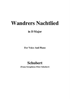 Wanderer's Night Song I, D.224 Op.4 No.3: For voice and piano (D Major) by Franz Schubert