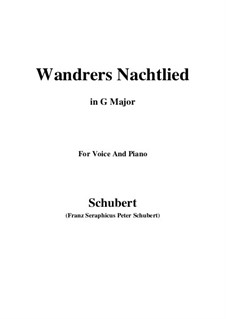 Wanderer's Night Song I, D.224 Op.4 No.3: For voice and piano (G Major) by Franz Schubert
