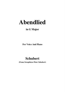 Abendlied (Evening Song), D.499: G Major by Franz Schubert