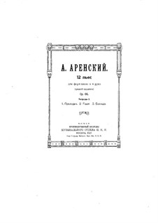 Twelve Pieces for Piano Four Hands, Op.66: Pieces No.1-3 by Anton Arensky