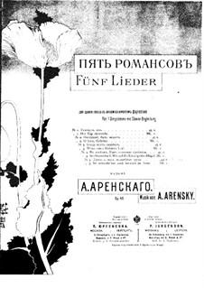 Five Romances, Op.49: Nr.5 Sie schwebt' mir noch kürzlich im Arme by Anton Arensky