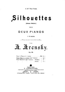 Suite for Two Pianos Four Hands No.2 'Silhouettes', Op.23: Version for piano four hands by Anton Arensky