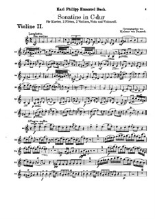 Sonatina for Two Flutes, Strings and Piano in C Major, H 460: Violin II part by Carl Philipp Emanuel Bach