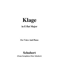 Klage (Lament), D.415: For voice and piano (c minor) by Franz Schubert
