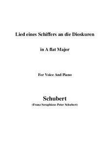 Lied eines Schiffers an die Dioskuren (Boatman's Song to the Dioscuri), D.360 Op.65 No.1: For voice and piano (A flat Major) by Franz Schubert