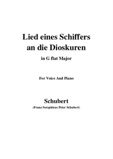 Lied eines Schiffers an die Dioskuren (Boatman's Song to the Dioscuri), D.360 Op.65 No.1: For voice and piano (G flat Major) by Franz Schubert