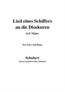 Lied eines Schiffers an die Dioskuren (Boatman's Song to the Dioscuri), D.360 Op.65 No.1: For voice and piano (E Major) by Franz Schubert