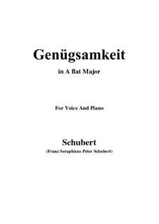 Genügsamkeit (Simple Needs), D.143 Op.109 No.2: For voice and piano (A flat Major) by Franz Schubert
