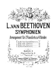 Symphonies No.6-9, Op.68, 92, 93, 125: Version for two pianos four hands – piano II part by Ludwig van Beethoven