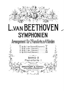 Symphonies No.6-9, Op.68, 92, 93, 125: Version for two pianos four hands – piano I part by Ludwig van Beethoven