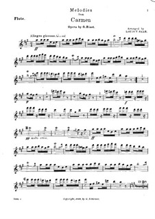Selected Themes: For quintet – Flute part by Georges Bizet