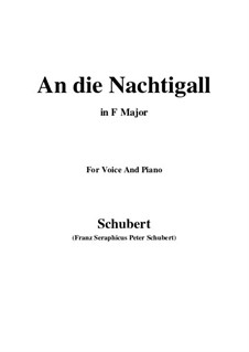 An die Nachtigall (To the Nightingale), D.497 Op.98 No.1: For voice and piano (F Major) by Franz Schubert