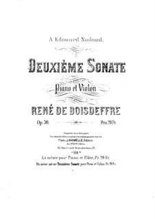 Sonata for Violin (or Flute) and Piano No.2, Op.50: Score by René de Boisdeffre