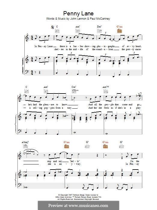 Penny Lane (The Beatles): For voice and piano (or guitar) by John Lennon, Paul McCartney
