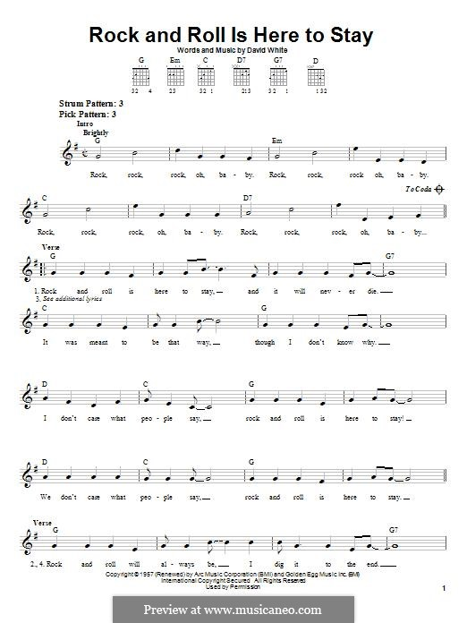 Rock and Roll Is Here To Stay (Danny & The Juniors): For guitar with tab by David White
