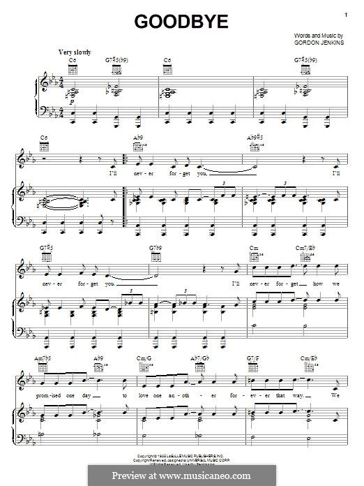 Goodbye (Bill Evans): For voice and piano (or guitar) by Gordon Jenkins