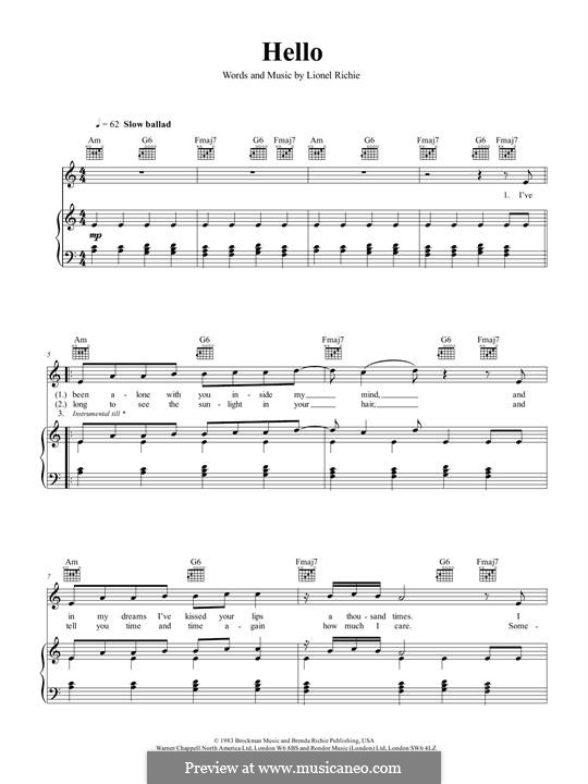 Hello: For voice and piano (or guitar) by Lionel Richie
