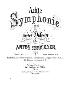 Symphony No.8 in C Minor, WAB 108: Arrangement for piano four hands – parts by Anton Bruckner
